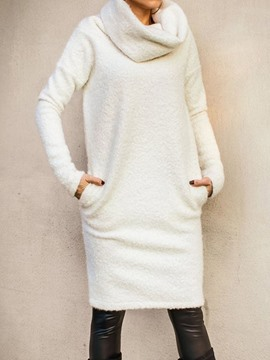 Ericdress Long Sleeve Knee-Length Heap Collar Winter Pullover Dress
