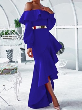 Ericdress Off Shoulder Asymmetric Floor-Length Plain Cold Shoulder Dress