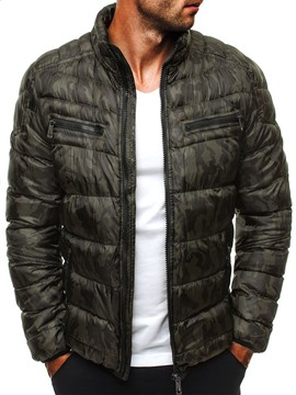 Ericdress Color Block Stand Collar Zipper European Men's Down Jacket
