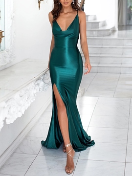 Ericdress Criss-Cross Straps Split-Front Mermaid Celebrity Dress 2019