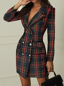 Ericdress Pocket Above Knee Long Sleeve Plaid Double-Breasted Dress