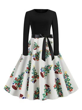 Ericdress Christmas Trees Mid-Calf Patchwork Long Sleeve Mid Waist Cartoon Dress