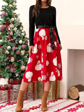 Ericdress Christmas Decorations Round Neck Long Sleeve Patchwork Regular Sweet Dress