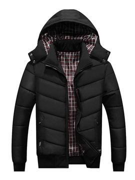 Ericdress Patchwork Hooded Plaid Zipper European Men's Down Jacket
