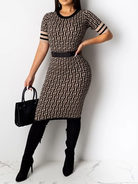 Ericdress Round Neck Knee-Length Print Casual Bodycon Dress