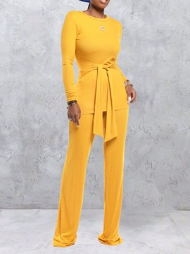 Ericdress Lace-Up Simple Pullover Round Neck Two Piece Sets