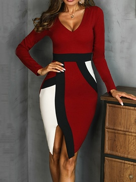 Ericdress Long Sleeve V-Neck Knee-Length Pullover Sexy Dress