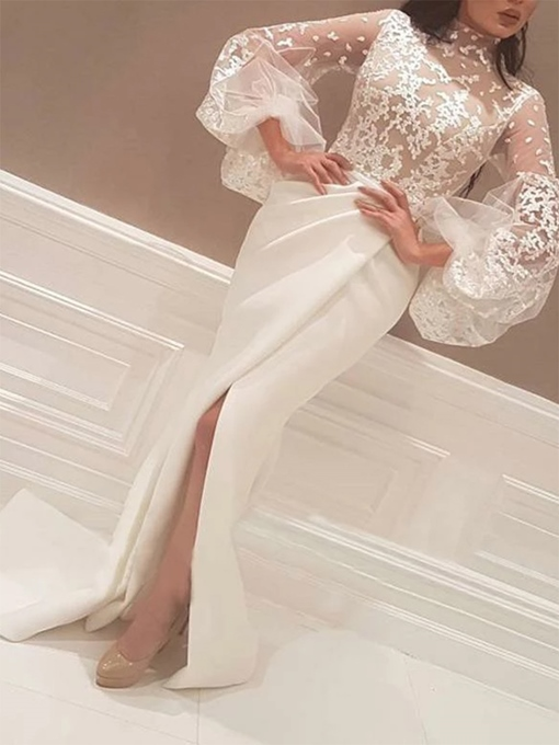 Ericdress Split-Front High Neck Long Sleeves Lace Evening Dress 2019