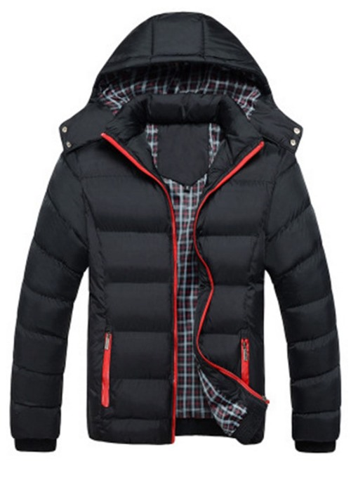 Ericdress Patchwork Hooded Standard Zipper European Men's Down Jacket