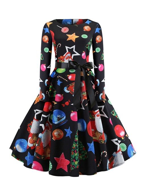 Ericdress Christmas Decorations Print Round Neck Mid-Calf Expansion Party/Cocktail Dress
