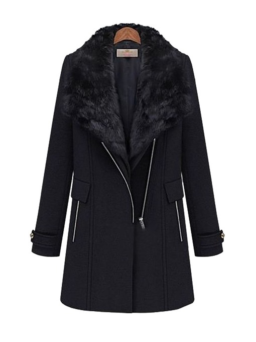 Ericdress Zipper Straight Regular Fall Mid-Length Overcoat