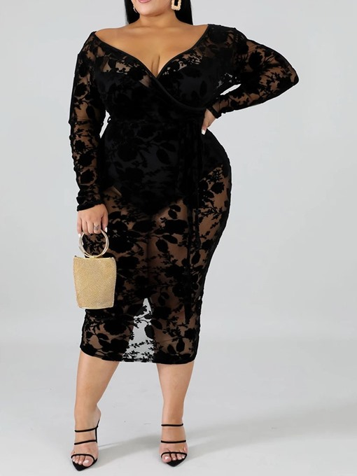Ericdress Plus Size Mid-Calf Lace Long Sleeve Pullover Floral Dress