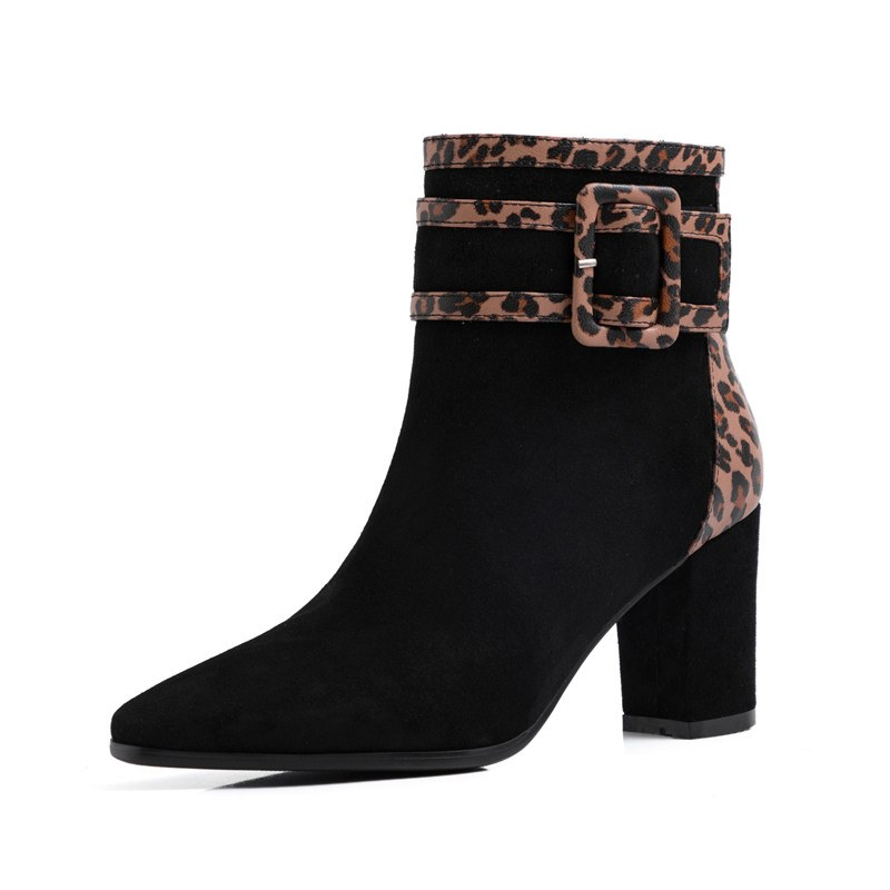 Ericdress Side Zipper Pointed Toe Chunky Heel Women's Ankle Boots