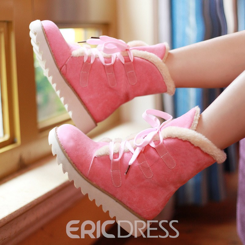 Ericdress Round Toe Lace-Up Front Women's Winter Boots