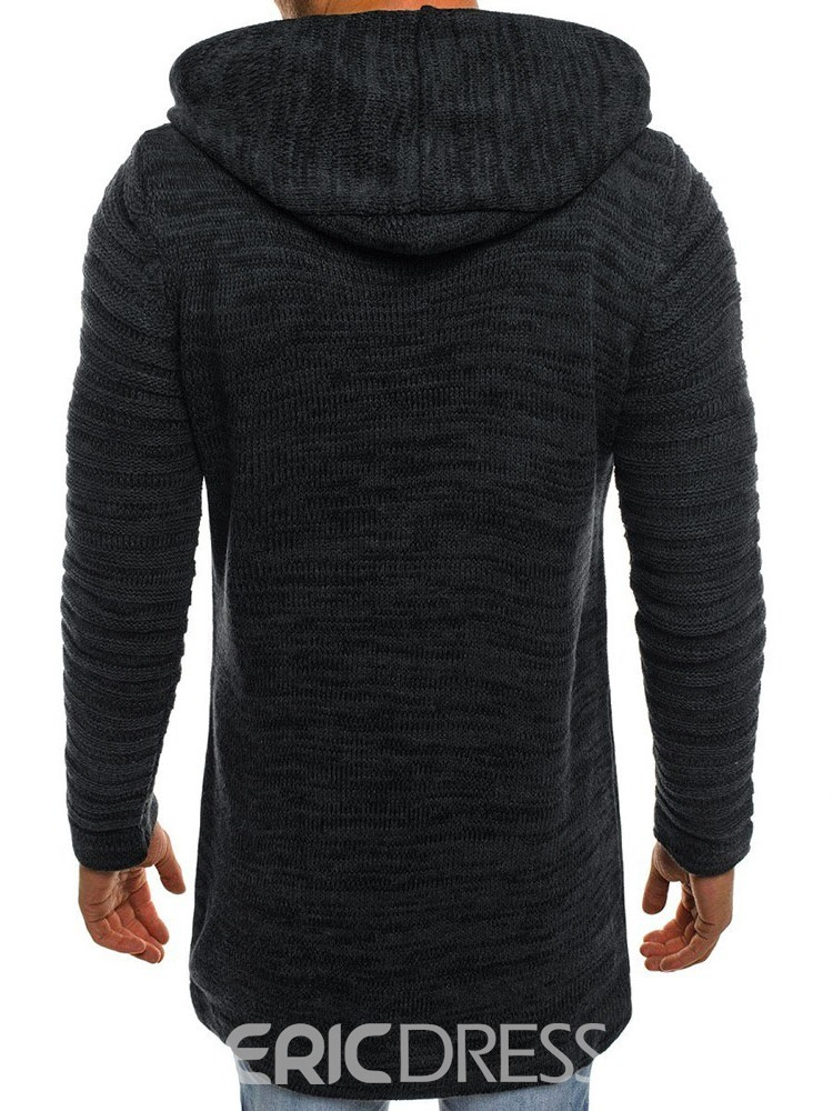 Ericdress Mid-Length Plain Hooded Straight Men's Sweater