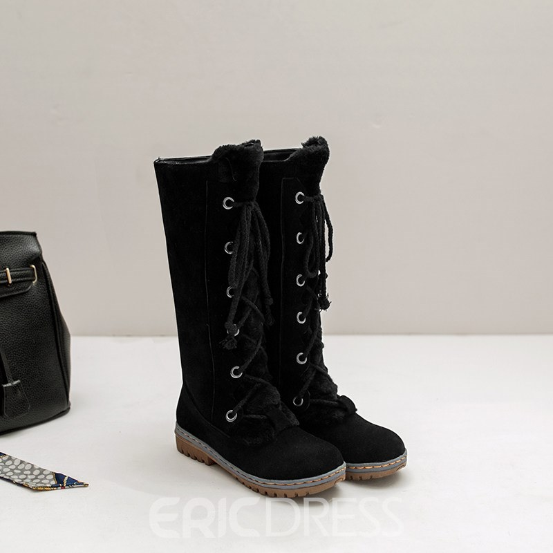 Ericdress Plain Round Toe Lace-Up Front Women's Snow Boots