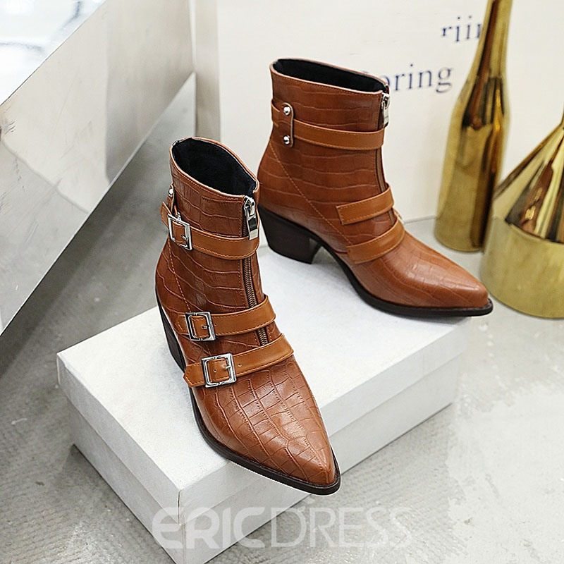 Ericdress Front Zipper Pointed Toe Plain Women's Ankle Boots