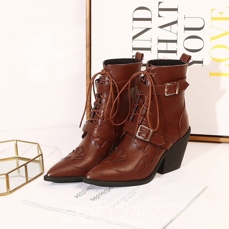 Ericdress Lace-Up Front Pointed Toe Plain Cross Strap Women's Ankle Boots