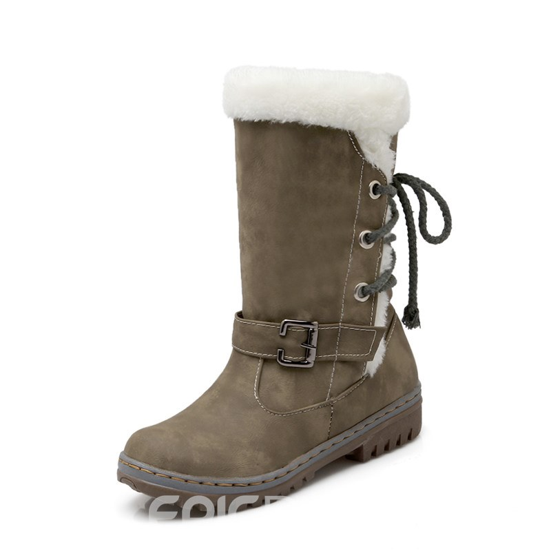 Ericdress Lace-Up Back Round Toe Patchwork Buckle Women's Snow Boots
