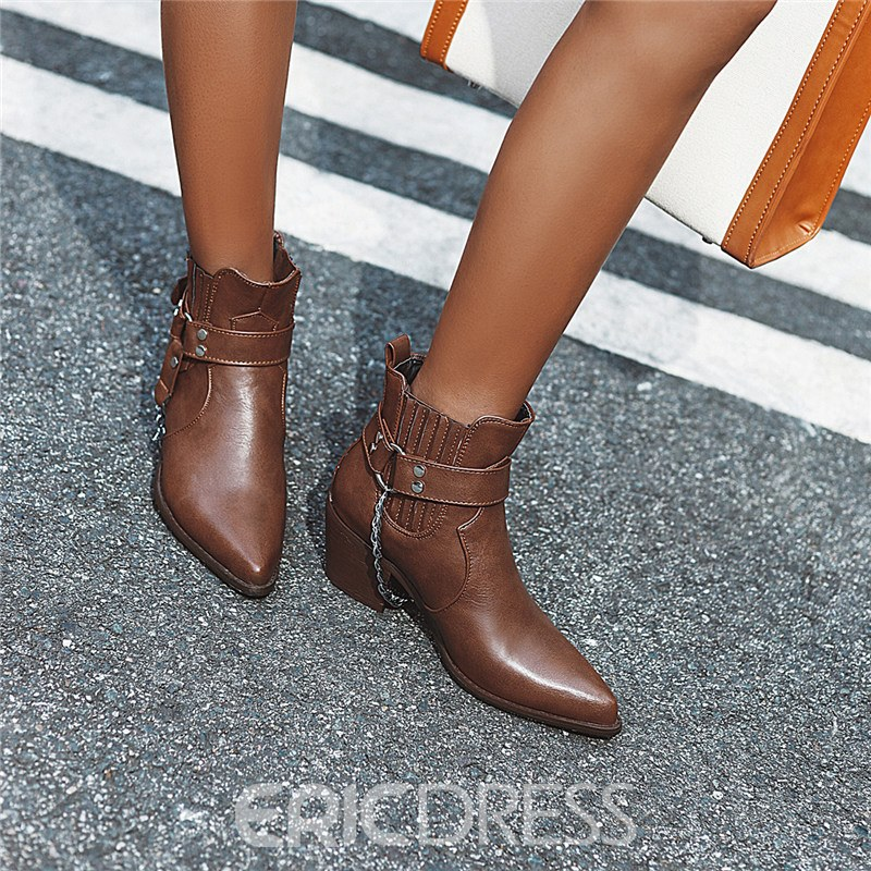 Ericdress Chunky Heel Slip-On Pointed Toe Women's Ankle Boots
