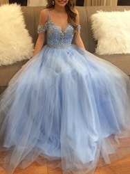 Ericdress Open Shoulder Beading Sky Blue Prom Dress