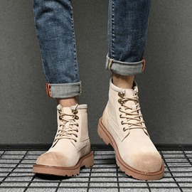 Ericdress Round Toe Plain Lace-Up Front Men's Martin Boots