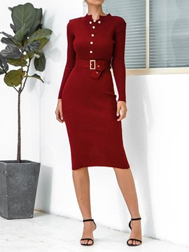 Ericdress Long Sleeve Mid-Calf Stand Collar Winter Pullover Dress