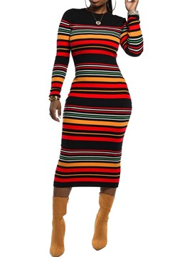 Ericdress Round Neck Print Mid-Calf Sheath Stripe Dress