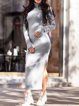 Ericdress Split Mid-Calf Long Sleeve Mid Waist Pullover Dress
