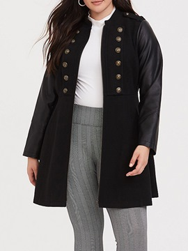 Ericdress Plus Size Zipper Regular Patchwork Mid-Length Stand Collar Overcoat