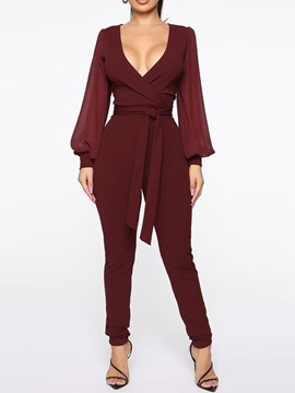 Ericdress Lace-Up Sexy Full Length Slim Jumpsuit
