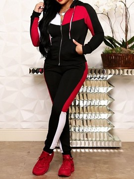 Ericdress Color Block Casual Zipper Two Piece Sets