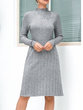 Ericdress Knee-Length Long Sleeve Stand Collar Pullover Winter Dress