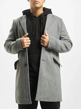 Ericdress Button Plain Mid-Length A Line Single-Breasted Men's Coat