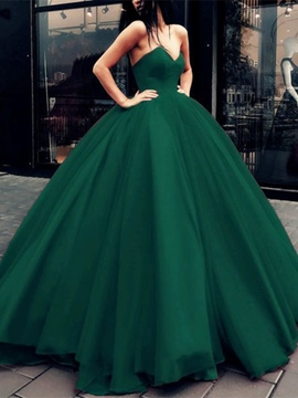 Lace-Up Ball Gown Dark Green Prom Dress 2019