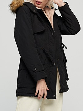 Ericdress Pocket Loose Single-Breasted Mid-Length Cotton Padded Jacket
