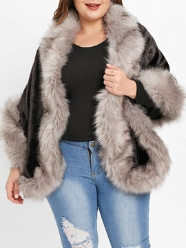 Ericdress Plus Size Mid-Length Color Block Loose Fall Faux Fur Overcoat