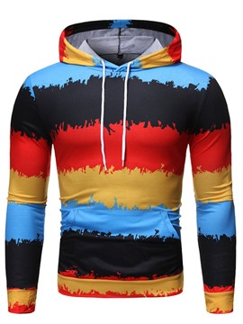 Ericdress Pocket Color Block Hooded Pullover Men's Hoodies