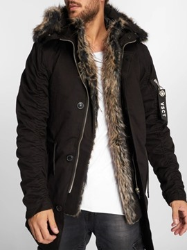Ericdress Patchwork Hooded Mid-Length Men's Down Jacket