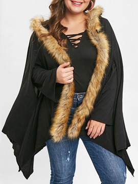 Ericdress Plus Size Asymmetric Cape Mid-Length Overcoat
