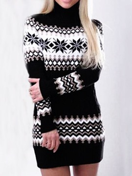 Ericdress Patchwork Long Sleeve Above Knee Regular Geometric Dress
