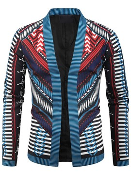 Ericdress Color Block Print Stand Collar Casual Men's Slim Jacket
