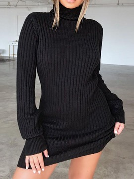 Ericdress Turtleneck Long Sleeve Above Knee Mid Waist Bodycon Dress