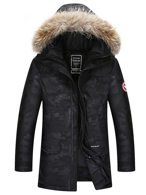 Ericdress Color Block Mid-Length Hooded European Zipper Men's Down Jacket