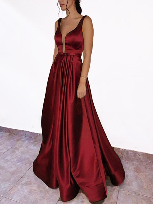 Ericdress Bowknot V-Neck A-Line Prom Dress