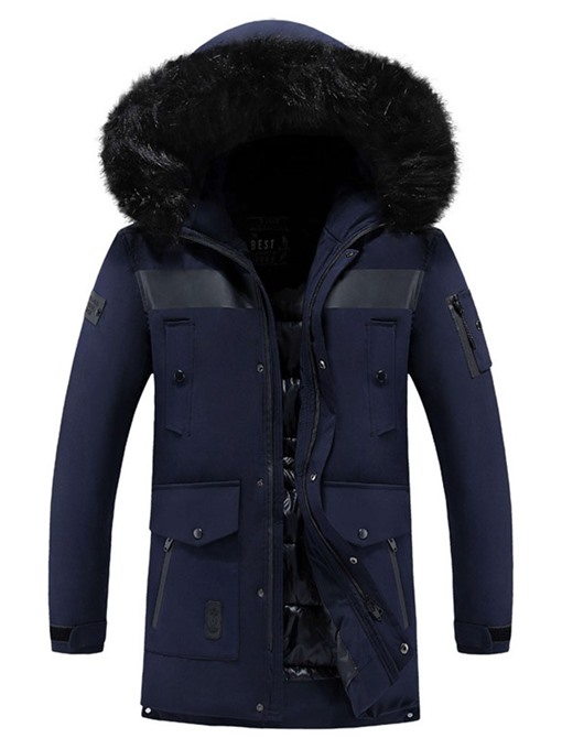 Ericdress Mid-Length Color Block European Zipper Men's Down Jacket