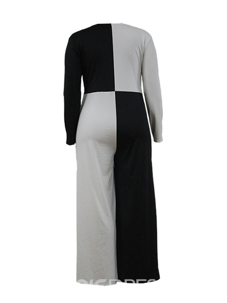 Ericdress Plus Size Casual Full Length Color Block Slim High Waist Jumpsuit