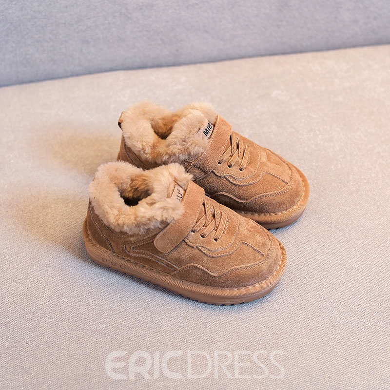 Ericdress Plain Lace-Up Baby Winte Sneakers