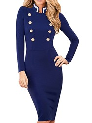 Ericdress Long Sleeve Mid-Calf Stand Collar Mid Waist Dress