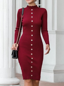 Ericdress Long Sleeve Stand Collar Knee-Length Plain Mid Waist Dress
